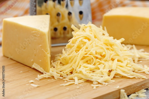 Photo  Grated cheese on the table
