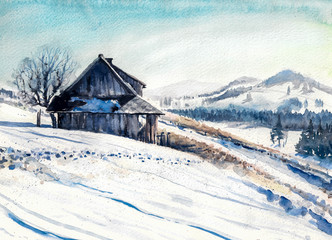 Obraz Winter landscape with small house in mountains watercolor painted.