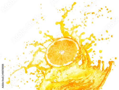 Keuken foto achterwand Opspattend water Orange juice splashing with its fruits isolated on white