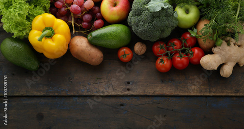 fresh vegetables wooden background