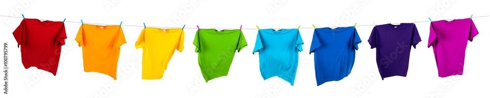 Fototapety, obrazy: colorful tshirts on washing line