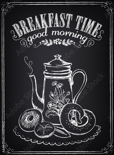 Fotografering  Vintage Poster. Breakfast time. Coffee/tea and bakery