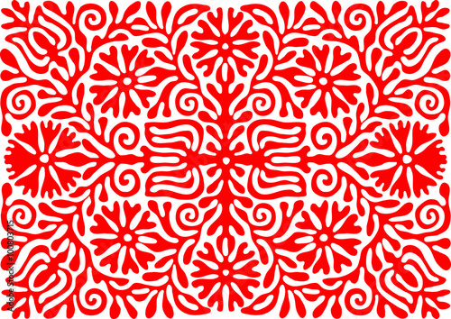 Leinwand Poster Traditional Hungarian vintage embroidery pattern - red (region: Buzsak)