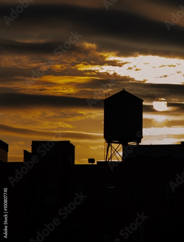 Photo  Water Tower Silhouette