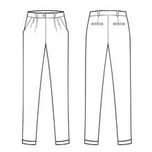 Menswear Classic Trouser - Flat Fashion Template