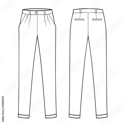 Photo Menswear classic trouser - Flat fashion template