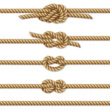 Yellow Twisted Rope Border Set, Isolated On White, Vector Illustration