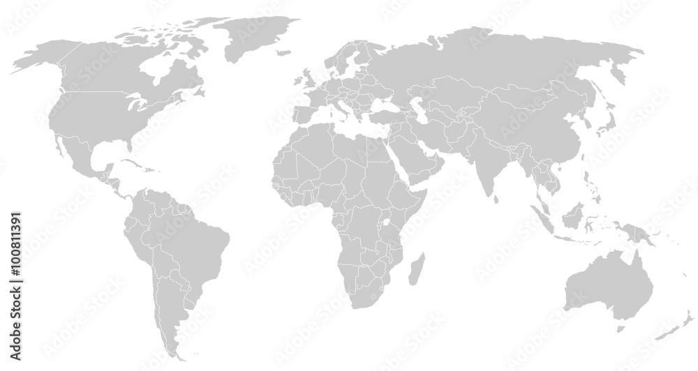 Fototapety, obrazy: gray world map silhoeutte