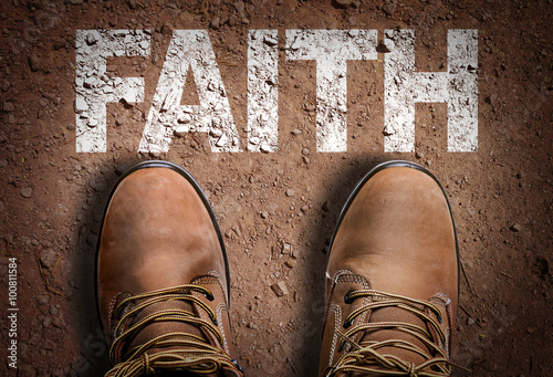 Fotografie, Tablou  Top View of Boot on the trail with the text: Faith