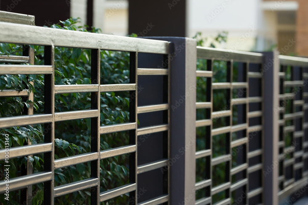 Fototapeta black steel fence of residential house modern style