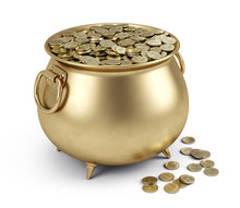 Pot Of Gold Coins Isolated On ...