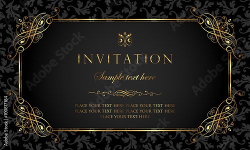 Fotografía Invitation card - black and gold vintage style