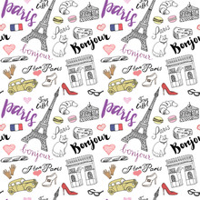 Paris Seamless Pattern With Hand Drawn Sketch Elements - Eiffel Tower Triumf Arch, Fashion Items. Drawing Doodle Vector Illustration, Isolated On White
