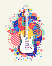 Electric Guitar Icon Concept Music Color Shape