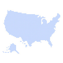 Blue Dotted USA Map On White B...
