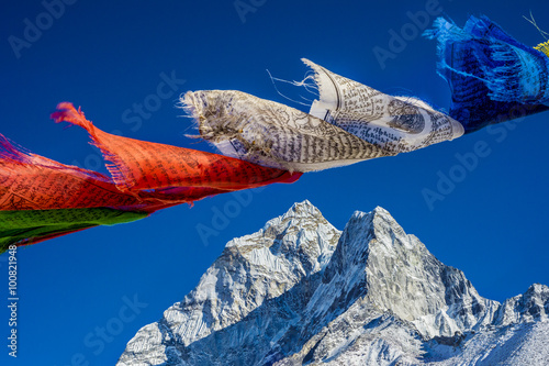 Prayer flags in the Himalayas with Ama Dablam peak in the backgr Canvas Print
