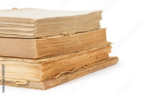 Printed kitchen splashbacks Newspapers stack of old books isolated on white background