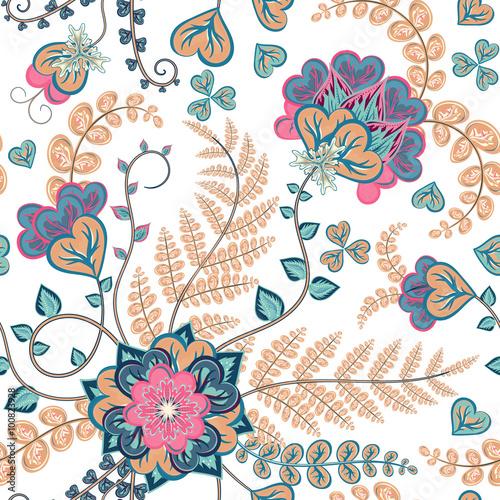 Fotografie, Obraz  Fantasy flowers seamless hand drawing pattern