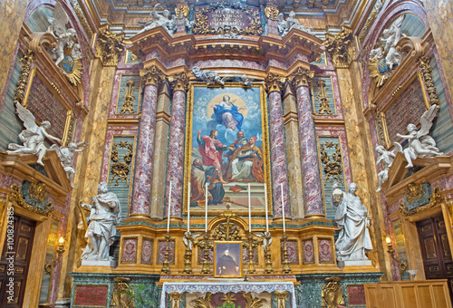 Fotografie, Obraz  ROME, ITALY - MARCH 25, 2015: Side altar of baroque church Basilica dei Santi Am