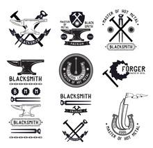 Set Of Retro Blacksmith Logo, Labels Design Elements. Anvil Symbol Logo. Pliers Hammer Retro Logo. Blacksmith Vintage Logo. Iron Foundry Logo Sign.