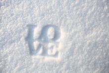 Love Word On White Snow