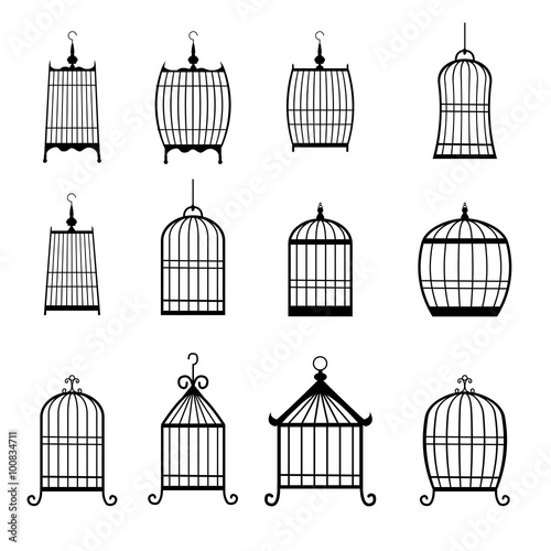 Photo  Set of modern bird cages. editable