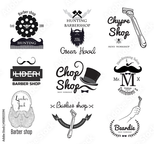 Barber Shop Logo Badge Design Men S Haircut Logo Straight Razor