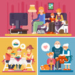 Happy family! Watching TV, Having a dinner in a restaurant, Granny and Grandpa giving a present to their granddaughter! Flat vector stock illustration set.