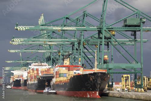 Containerschiff an einem Containerterminal im Hafen von Antwerp