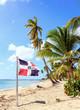 Caribbean beach and Dominican Republic flag