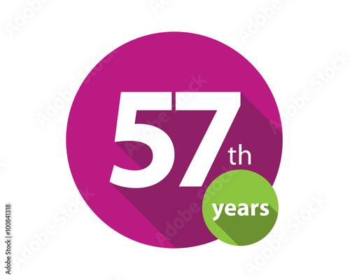 Fotografie, Obraz  57th years purple circle anniversary logo