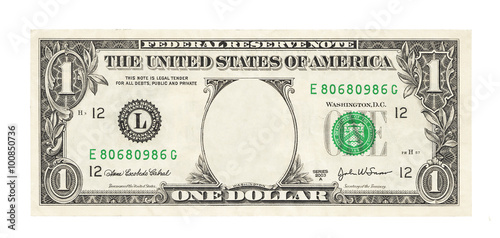 Fototapeta Blank 1 dollar banknote isolated obraz