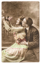 Happy Couple Woman And Man In Love. Vintage Picture