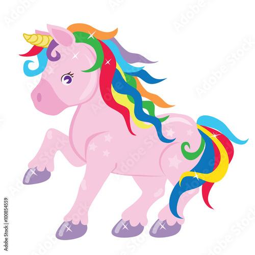 Garden Poster Pony Cute unicorn vector illustration