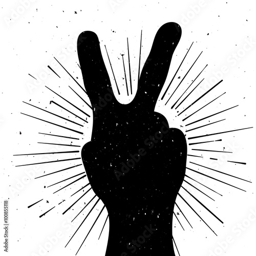 Foto  Distressed peace sign silhouette, grunge template for your text