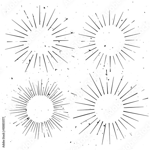 Set of vintage circle hand drawn ray frames, starburst template ...