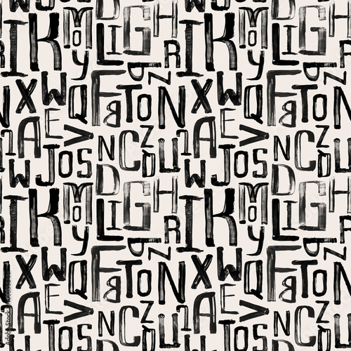 Seamless vintage style pattern, uneven grunge letters of random