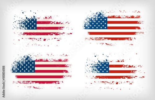 Obraz Grunge american ink splattered flag vectors - fototapety do salonu