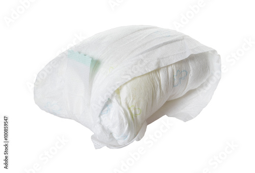 Tableau sur Toile full diaper / full diaper of a baby isolated over a white background