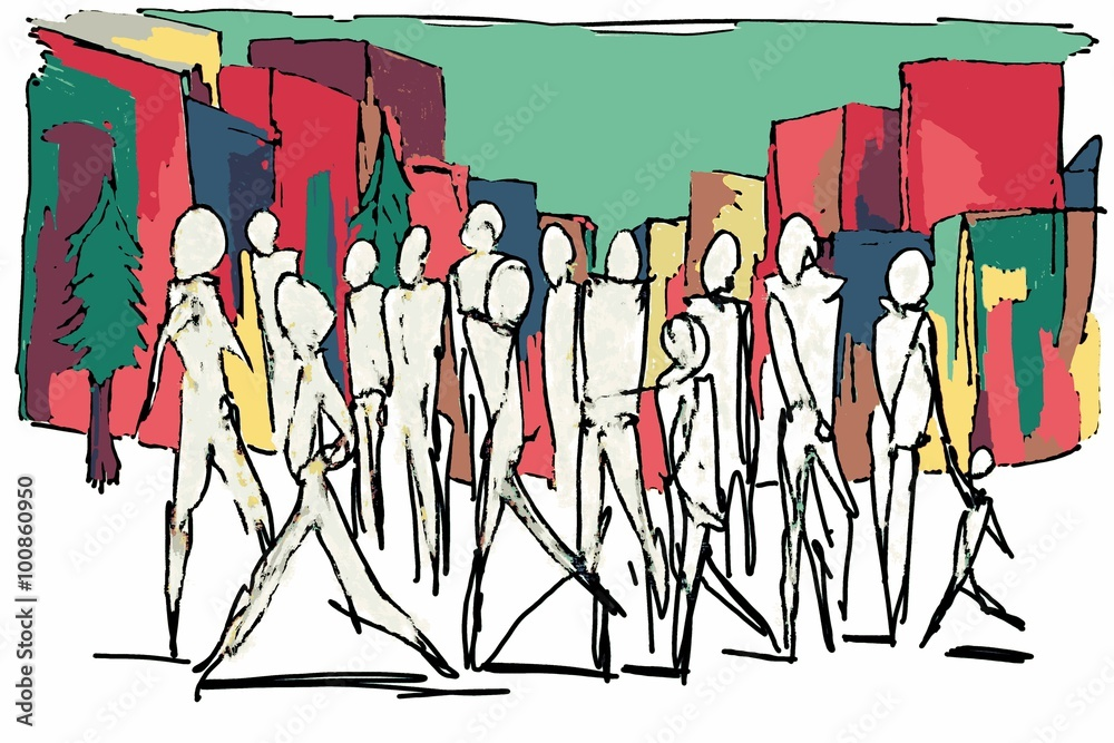 crowd walking on urban street/crowd walking on urban street cartoon painting