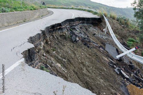 Vászonkép Landslide on a national road in Sicily