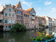 canvas print picture - The historic center of Ghent, channel and embankment. Ghent, Belgium