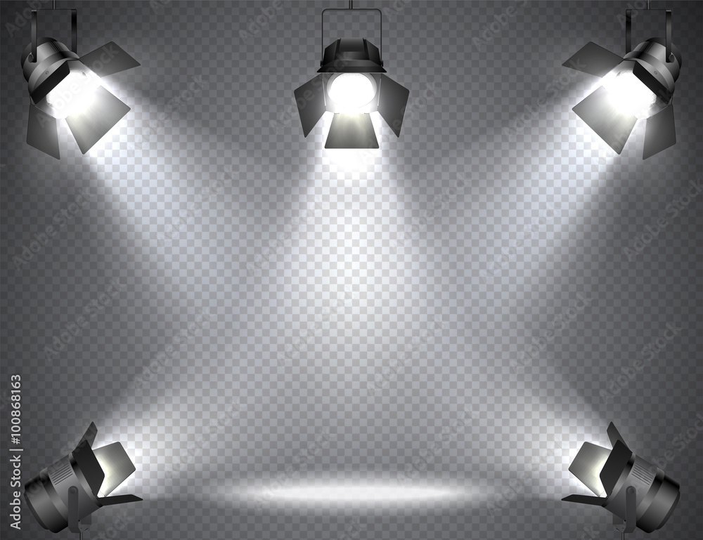 Fototapety, obrazy: Spotlights with bright lights on transparent background.