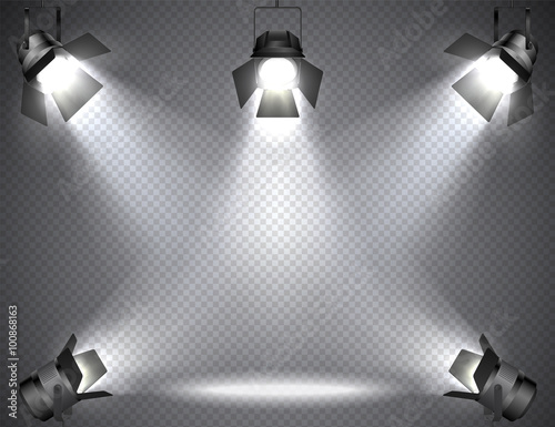 Foto op Plexiglas Licht, schaduw Spotlights with bright lights on transparent background.