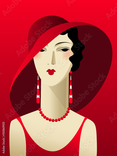 Photo  Portrait deco woman in a red dress and a wide-brimmed hat