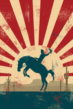 Grunge Background, Cowboy Riding Wild Horse, Vector