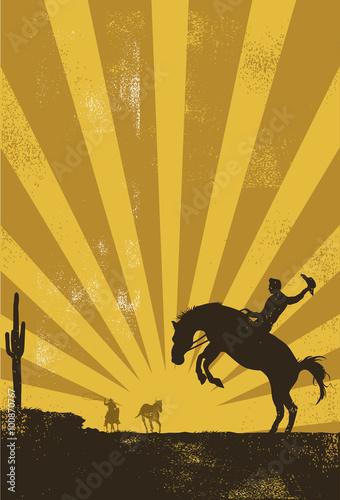 Papiers peints Cactus Cowboy riding wild horse at sunset, vector