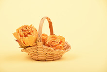 Small Basket Of Dried Roses On...