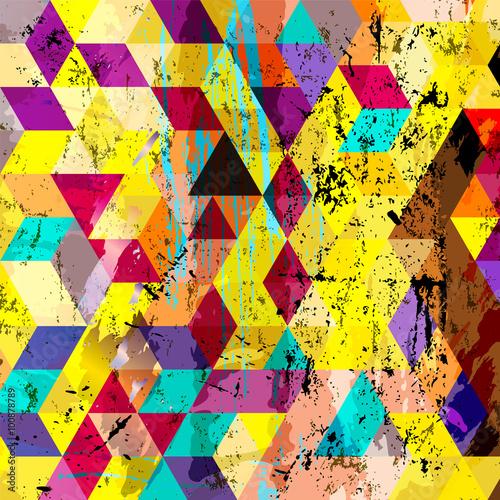 Obrazy wieloczęściowe abstrakcyjne geometryczne tło, z kwadratów, trójkątów, pociągnięć