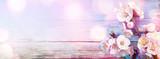 Fototapeta Kwiaty - Pink Blossoms On Wooden With Bokeh Lights